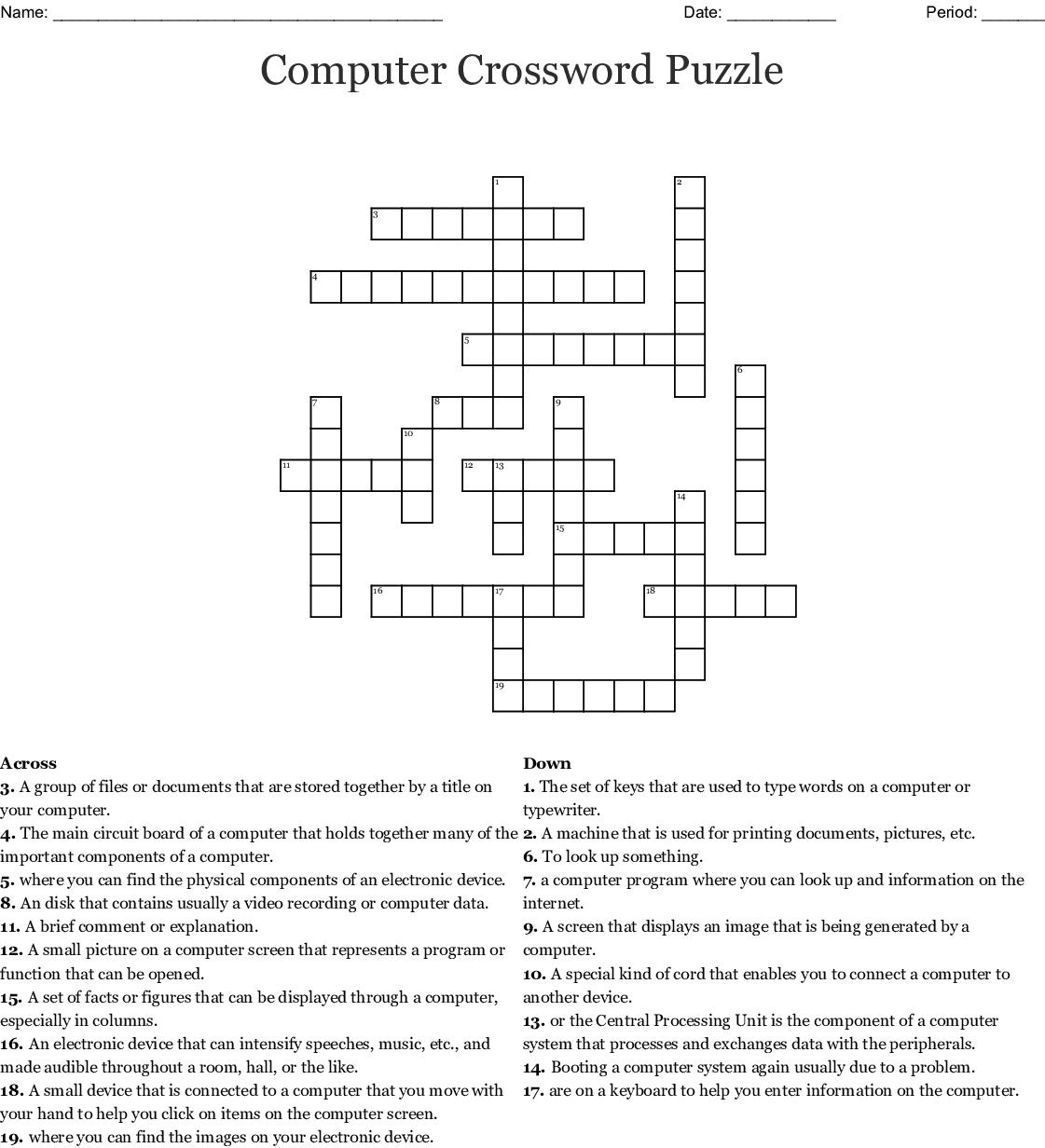 Computer Crossword Puzzle Crossword - Wordmint - Printable Computer Crossword Puzzles With Answers