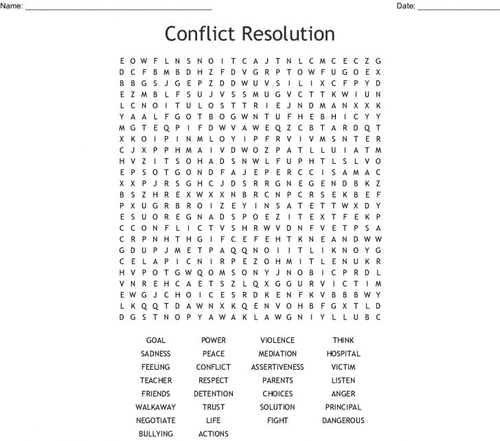Printable Conflict Resolution Crossword Puzzle