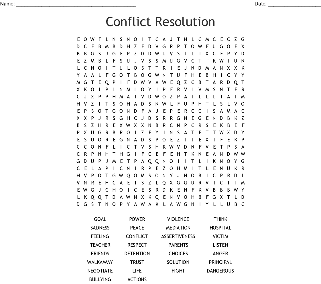 Conflict Resolution Word Search - Wordmint - Printable Conflict Resolution Crossword Puzzle