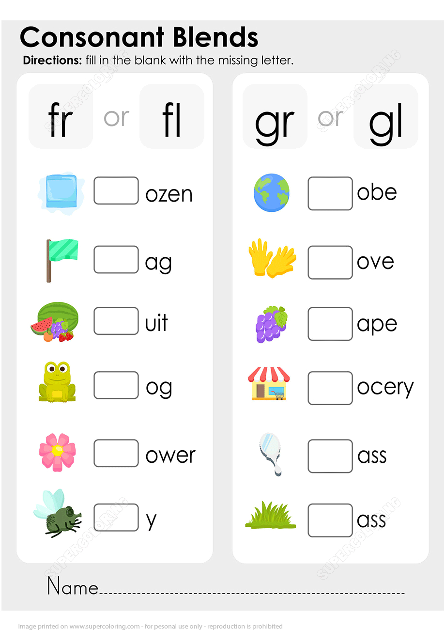 Consonant Blend Worksheet | Free Printable Puzzle Games - Printable Missing Vowels Puzzles