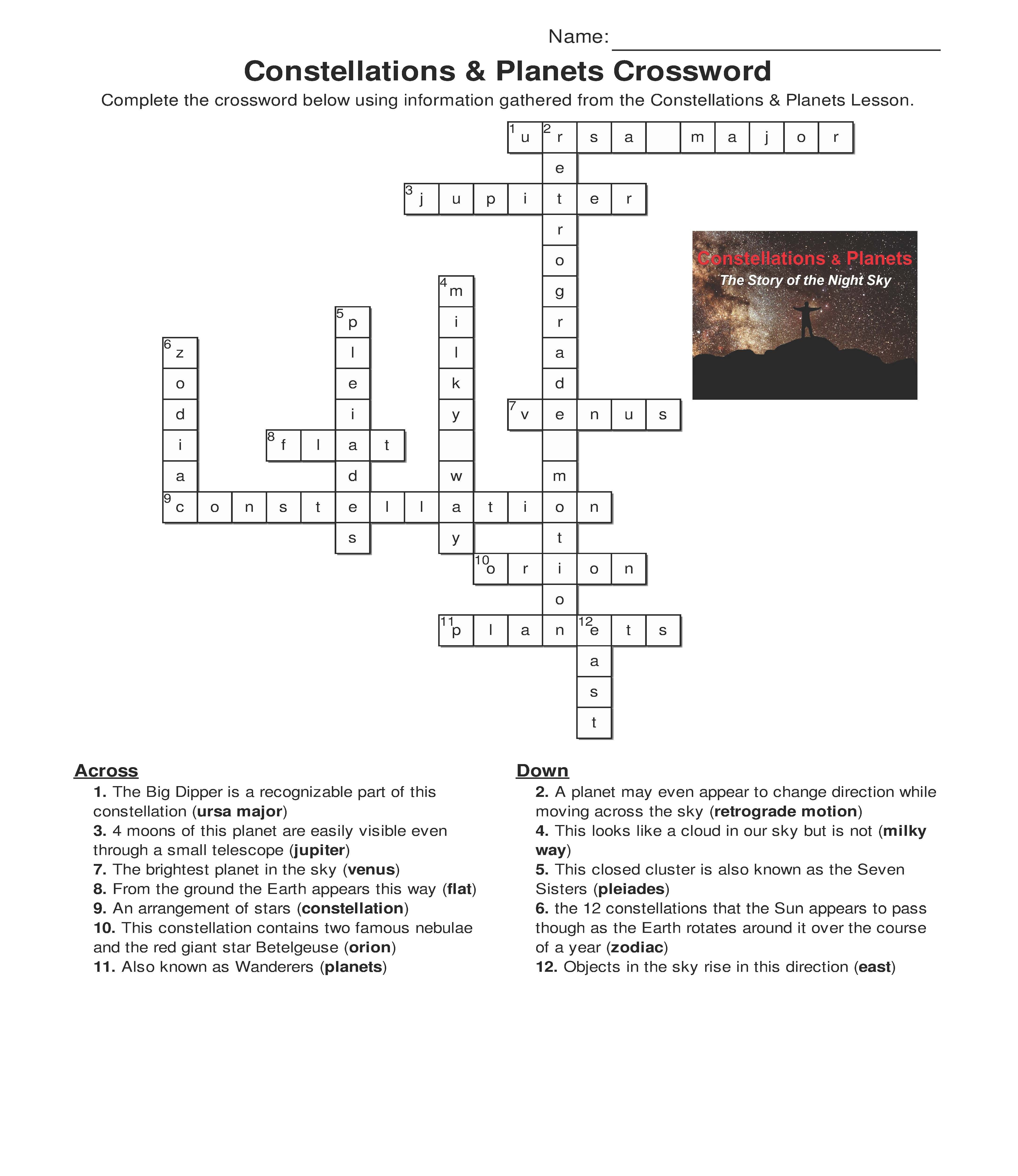 Constellations And Planets Crossword: One Of The Activities That - Printable Computer Crossword Puzzles With Answers