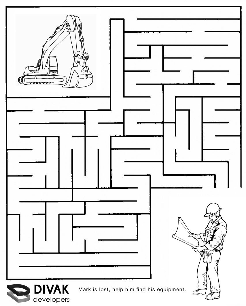 Construction Maze   Summer Camp Construction   Mazes For Kids - Printable Puzzles For 6 Year Olds