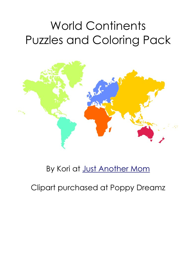 Continents Puzzles And Coloring Pages - 7 Continents Printable Puzzle