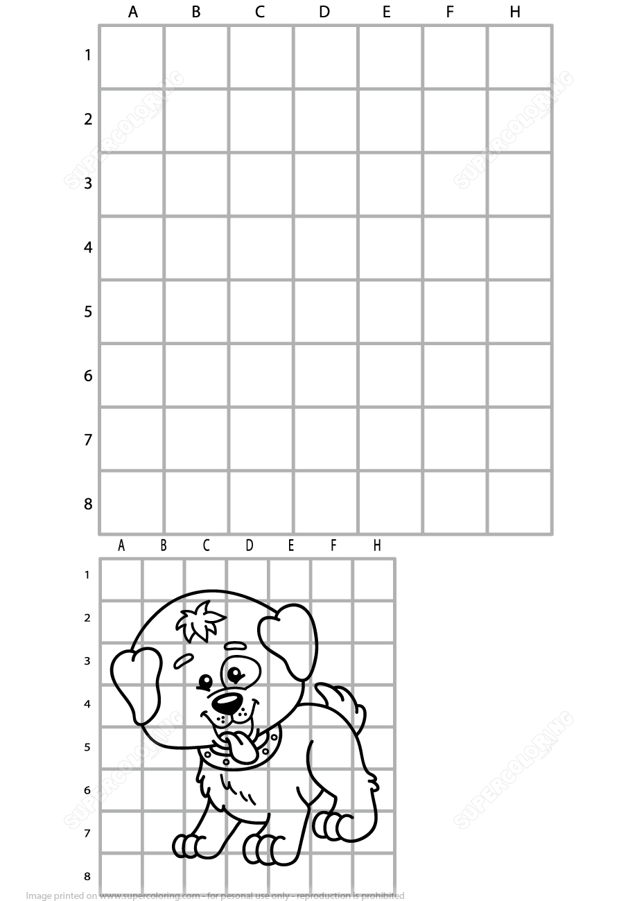 Copy The Picture Of Cute Dog Grid Puzzle | Free Printable Puzzle Games - Dog Crossword Puzzle Printable