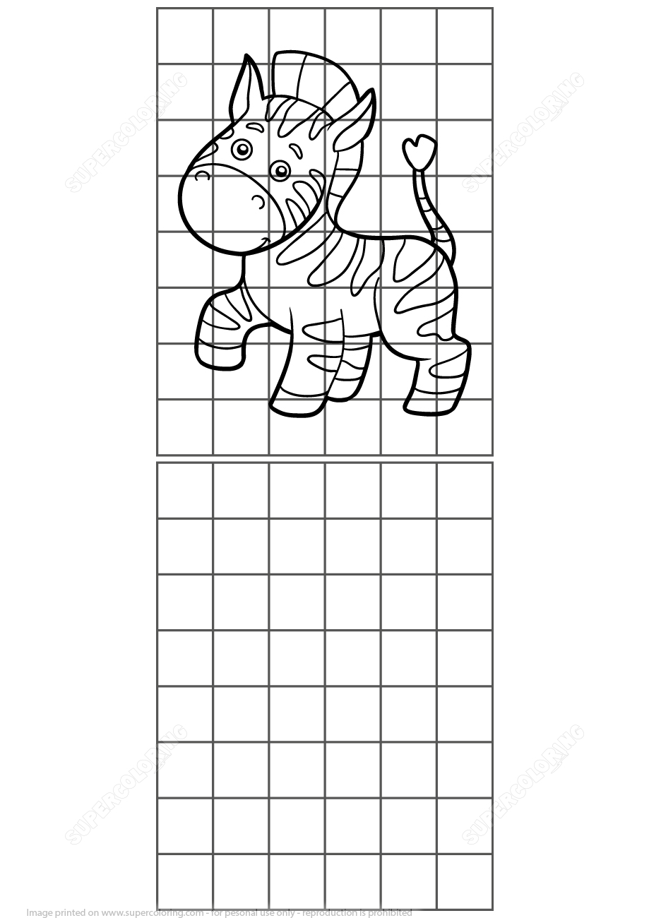Copy The Zebra Grid Puzzle | Free Printable Puzzle Games - Printable Zebra Puzzle