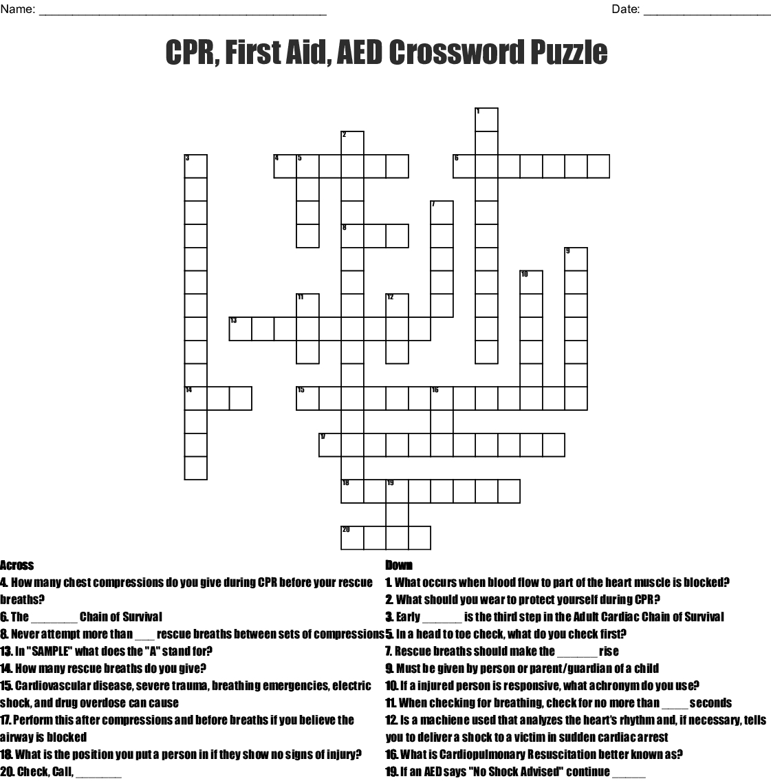 Cpr, First Aid, Aed Crossword Puzzle Crossword - Wordmint - Printable Crossword Puzzle First Aid