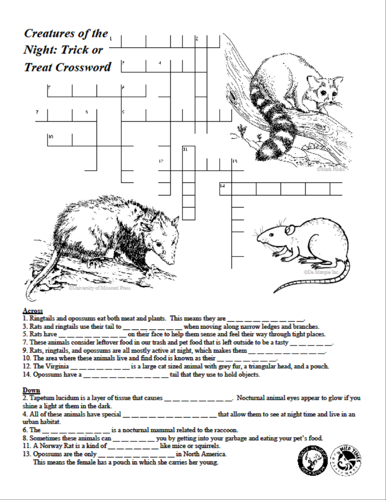 Creatures Of The Night Crossword Puzzle - Texas Wildlife Association - Wildlife Crossword Puzzle Printable