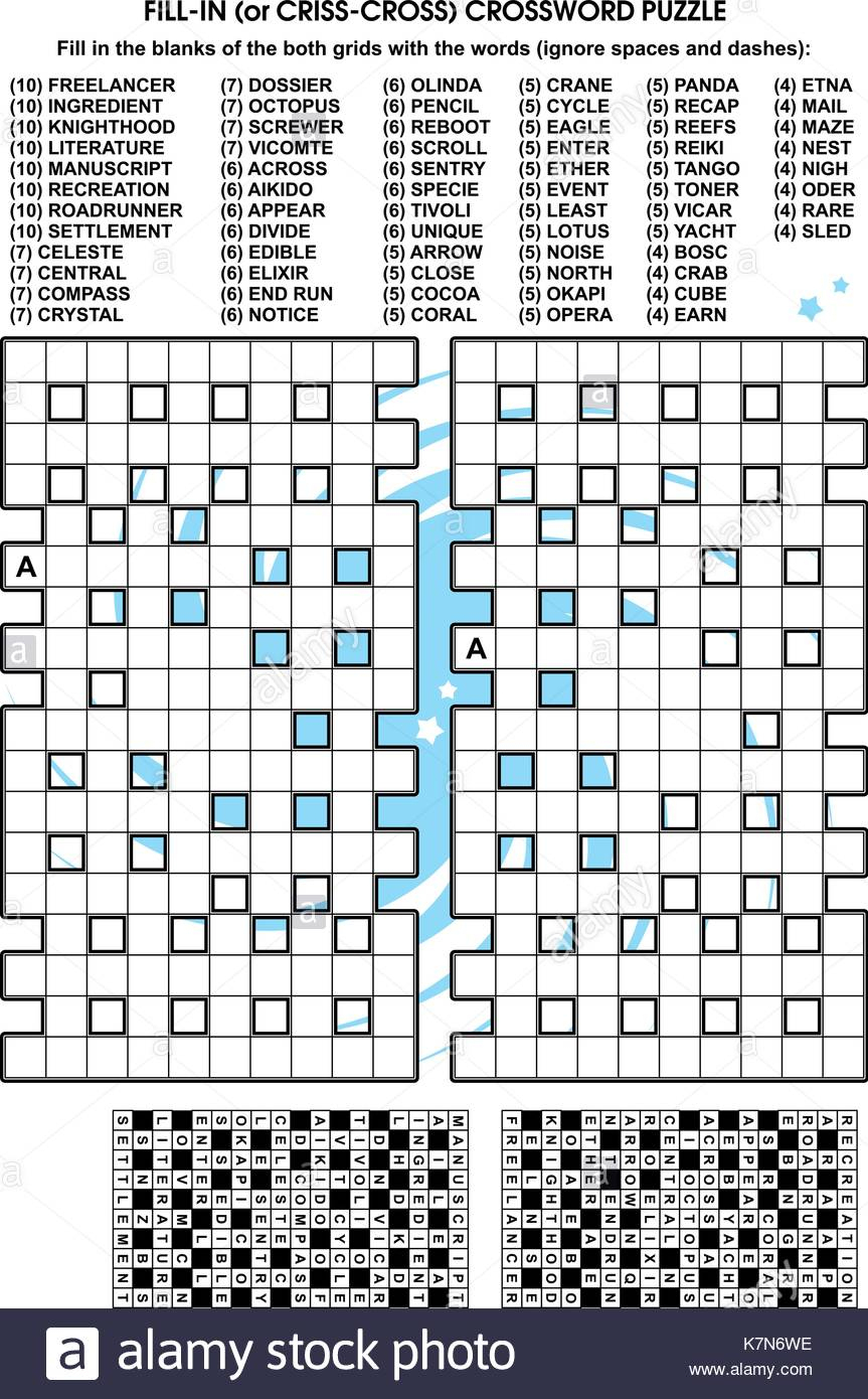 Criss-Cross Word Puzzle - Fill In The Blanks Of The Crossword Puzzle - Printable Crossword Puzzle Grid