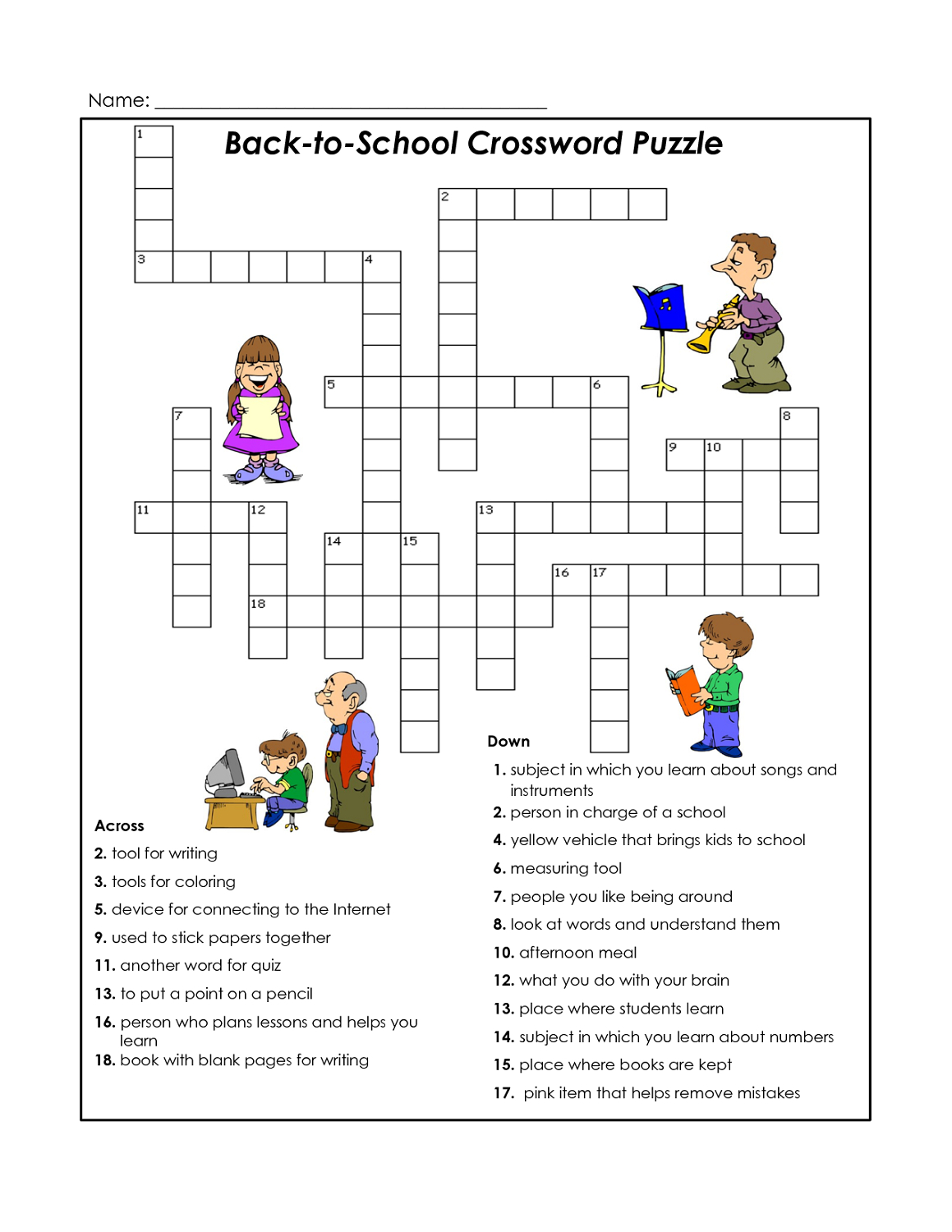 Cross Word Puzzles For Kids School | K5 Worksheets | Puzzles | Word - Printable Crossword Puzzles For Kids With Word Bank