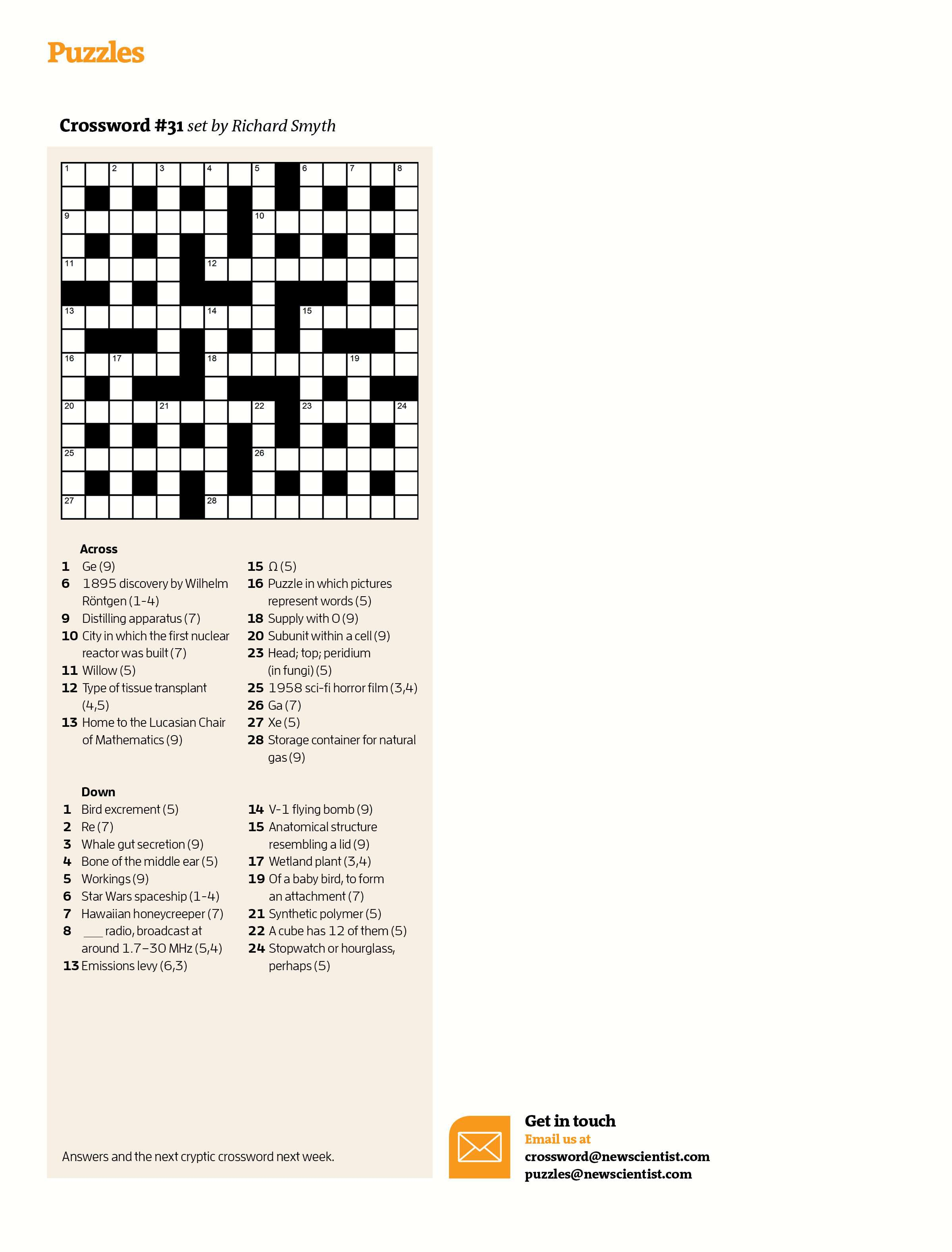Crossword #31 | New Scientist - Daily Quick Crossword Printable Version