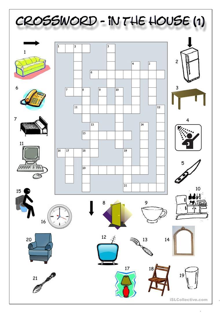 Crossword - In The House (1) Worksheet - Free Esl Printable - Printable House Puzzle