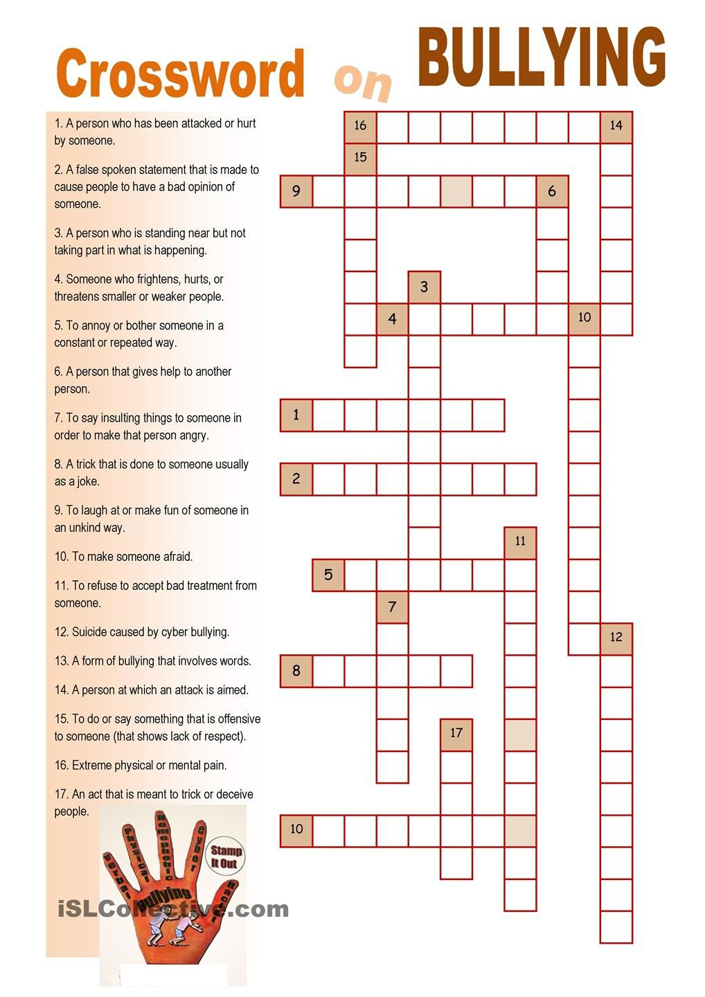 Crossword On Bullying | Crossword On Bullying | Bullying Worksheets - Respect Crossword Puzzle Printable