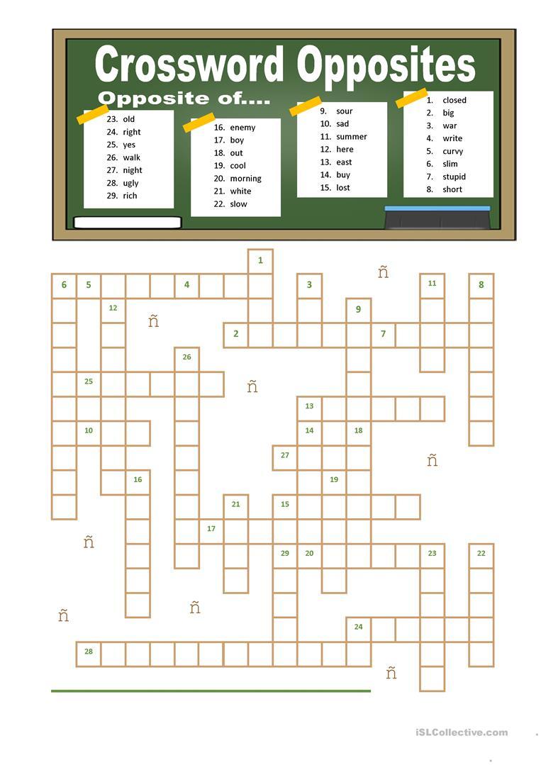 Crossword Opposites Worksheet - Free Esl Printable Worksheets Made - Printable Opposite Crossword Puzzle