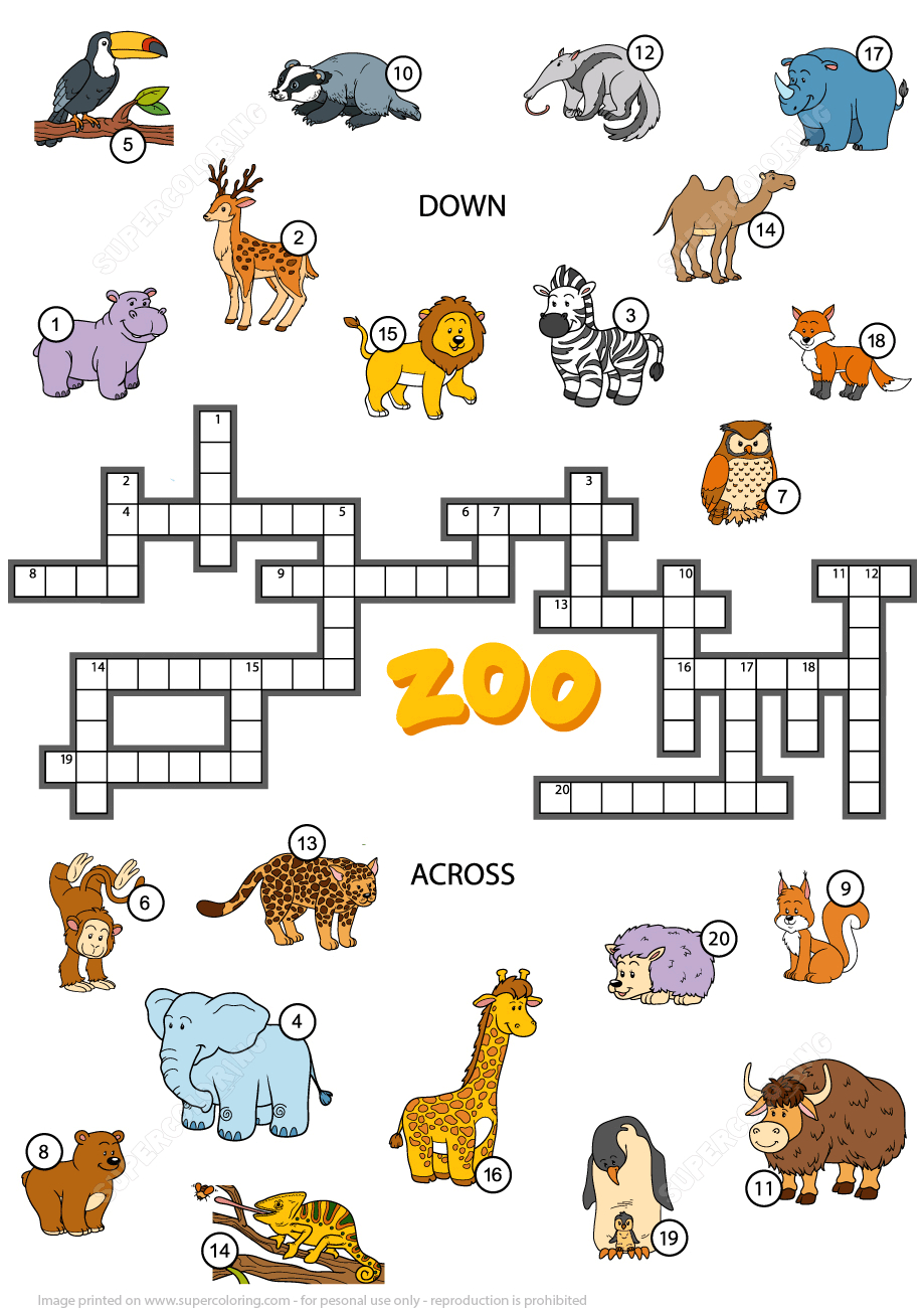 Crossword Puzzle About Zoo Animals | Free Printable Puzzle Games - Zoo Crossword Puzzle Printable