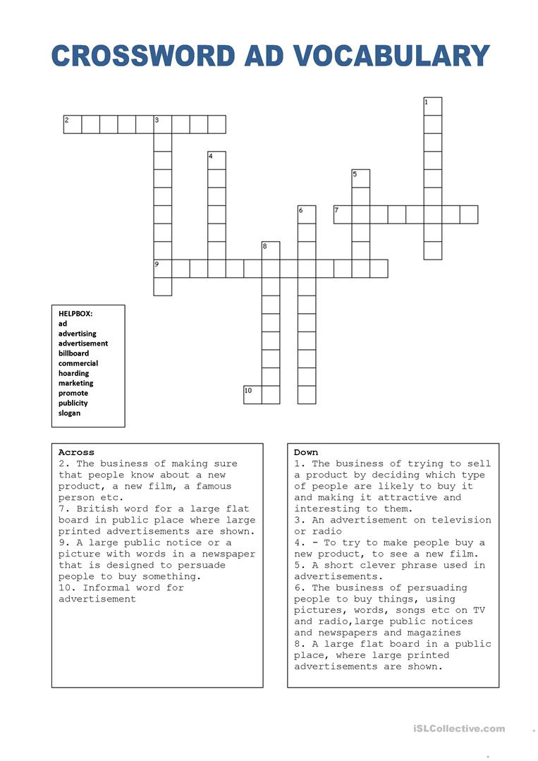 Crossword Puzzle Ads (W. Helpbox) Worksheet - Free Esl Printable - Crossword Puzzles Vocabulary Printable