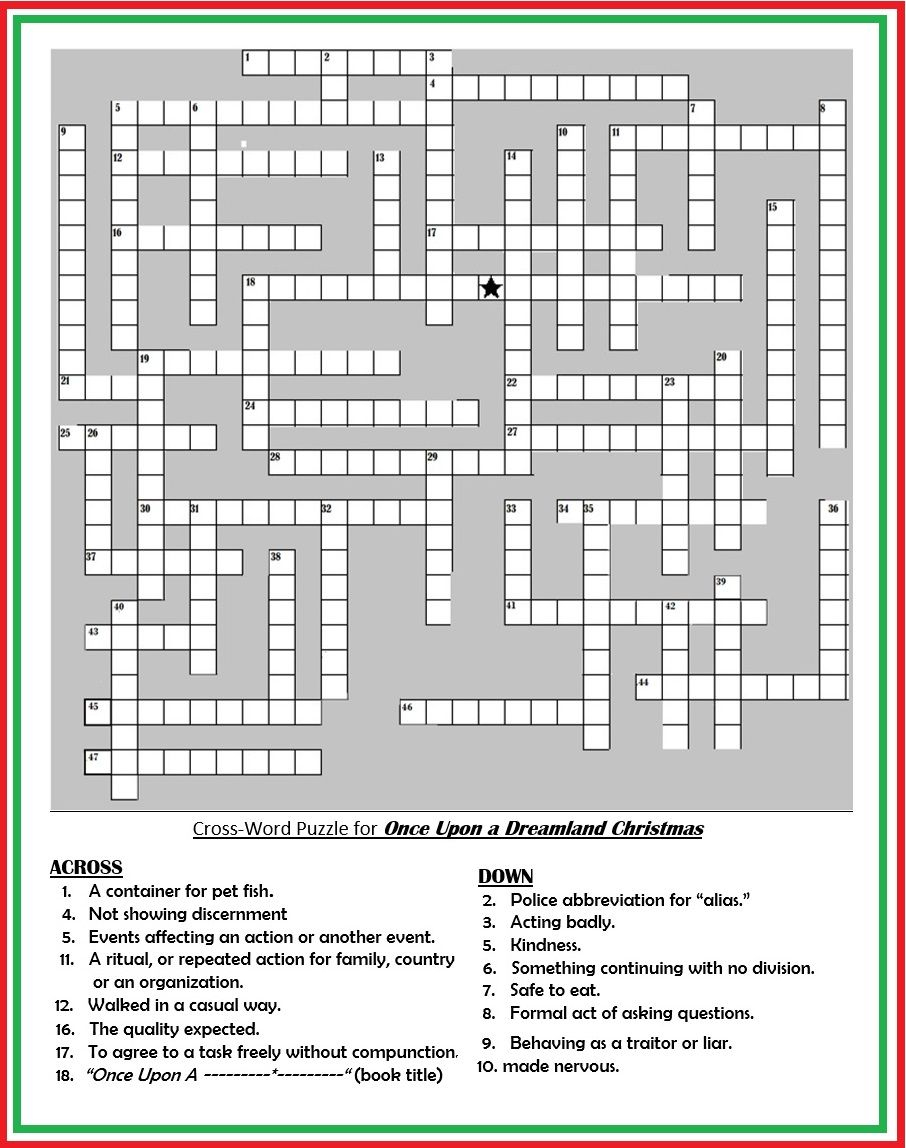 """Crossword Puzzle For Patches Adventure Book: """"once Upon A Dreamland - Printable Premier Crossword Puzzle"""