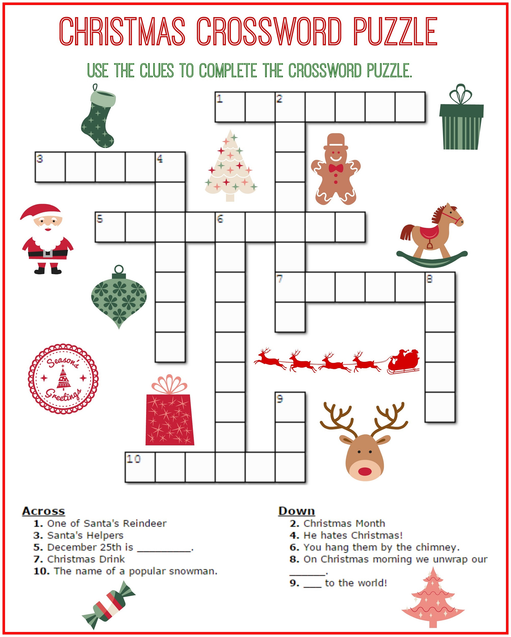Crossword Puzzle Kids Printable 2017 | Kiddo Shelter - Printable Puzzles Hints