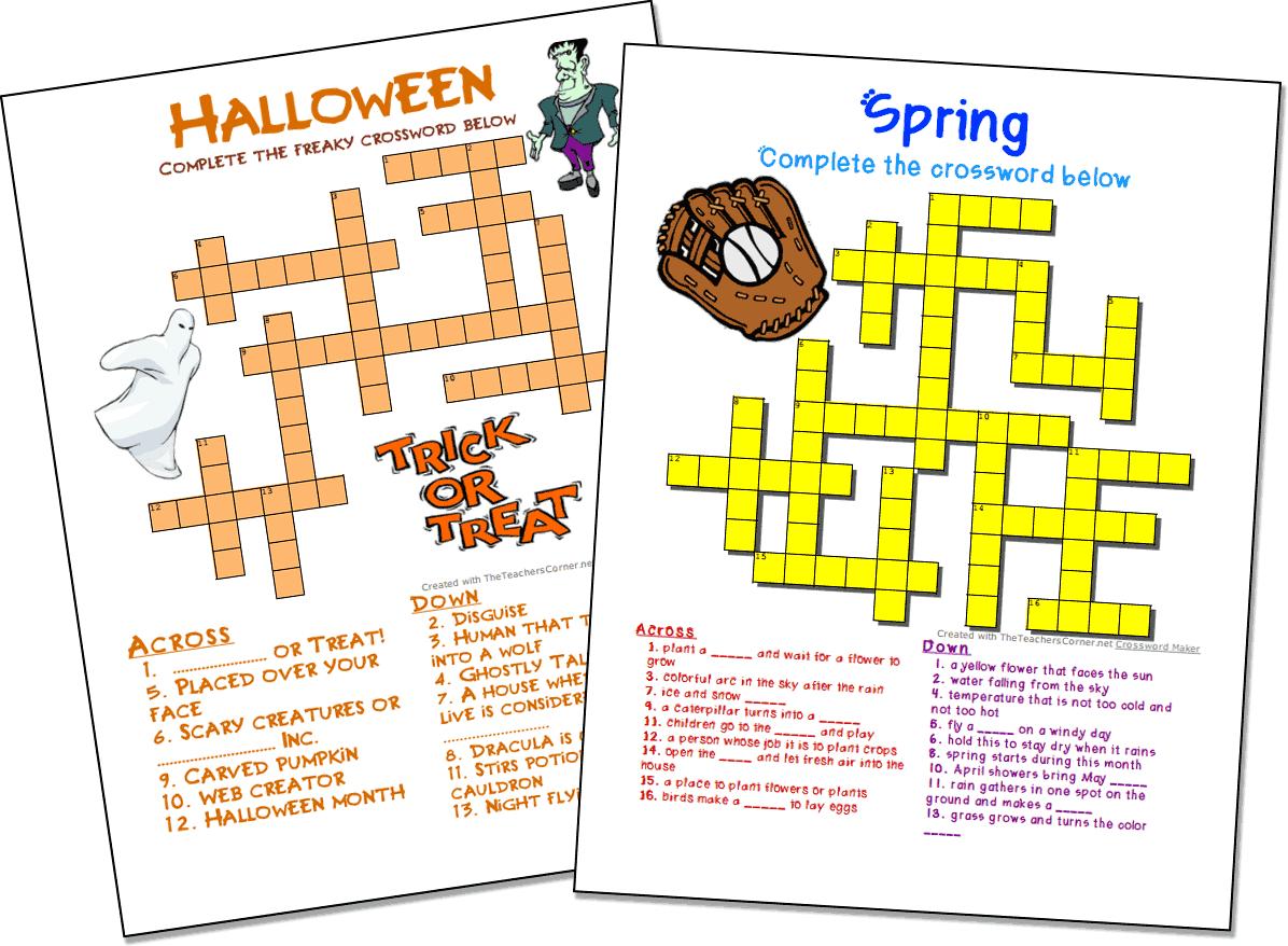 Crossword Puzzle Maker | World Famous From The Teacher's Corner - Printable Crossword Generator