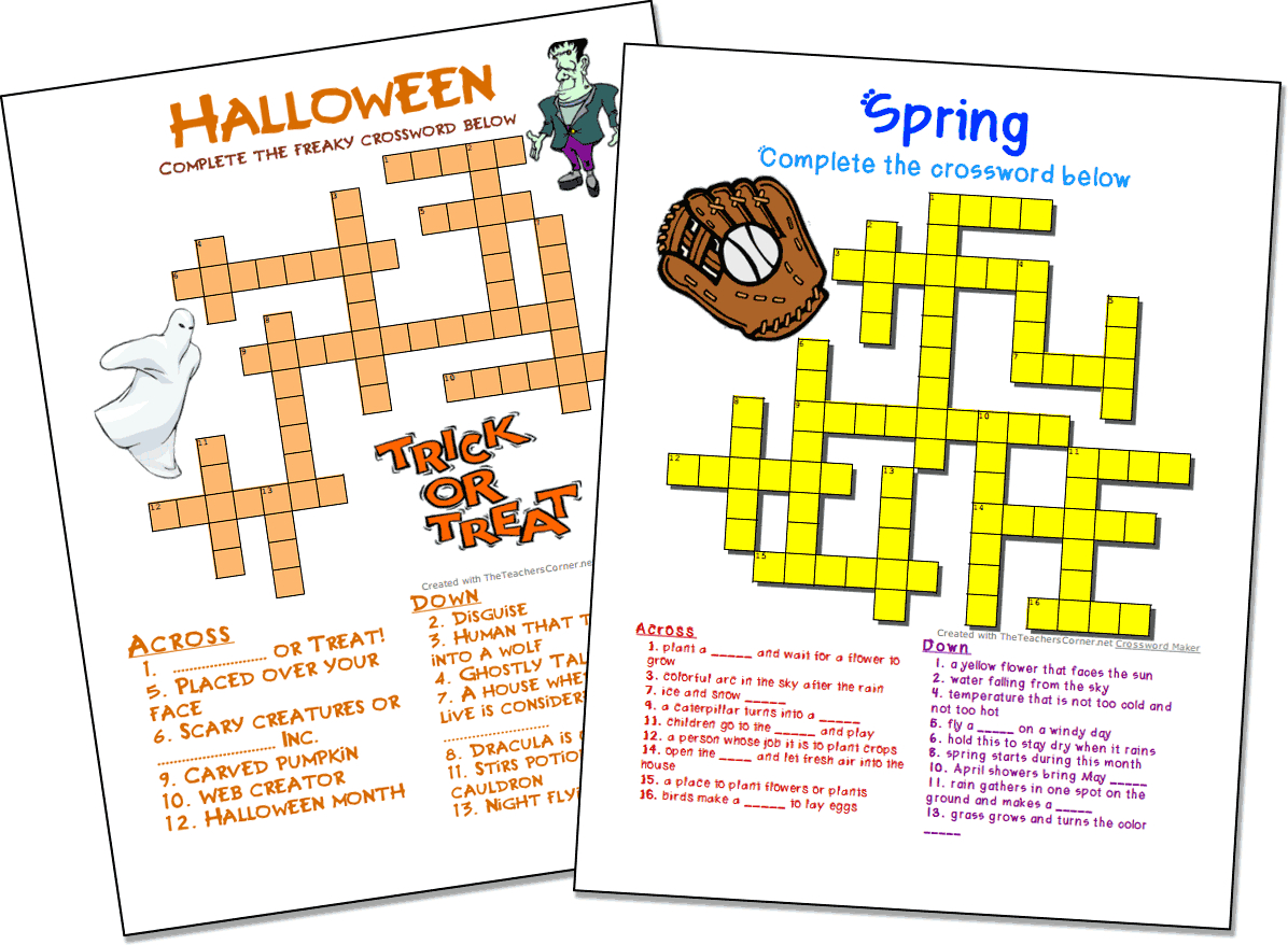 Crossword Puzzle Maker | World Famous From The Teacher's Corner - Printable Homemade Crossword Puzzles