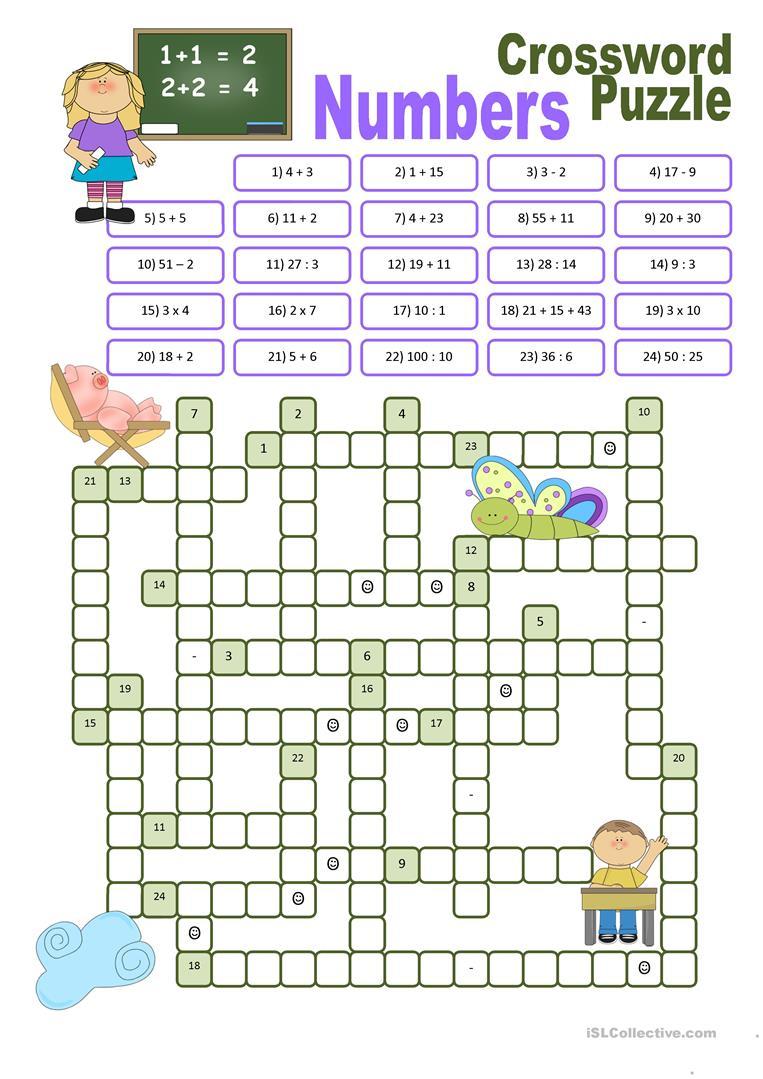 Crossword Puzzle Numbers Worksheet - Free Esl Printable Worksheets - Printable Word Puzzles For 7 Year Olds