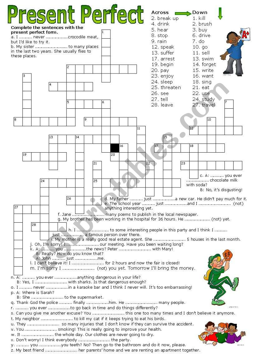 Crossword Puzzle - Present Perfect - Esl Worksheetluoliveira - Printable Crossword Puzzles Simple Present