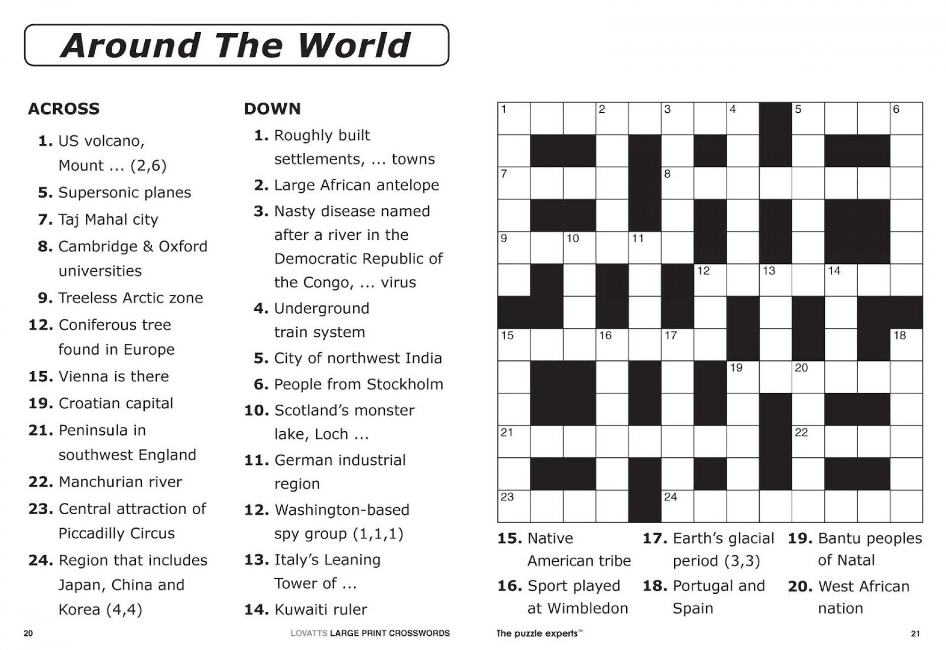 Crossword Puzzle Printable Large Print Crosswords ~ Themarketonholly - Circus Crossword Puzzle Printables