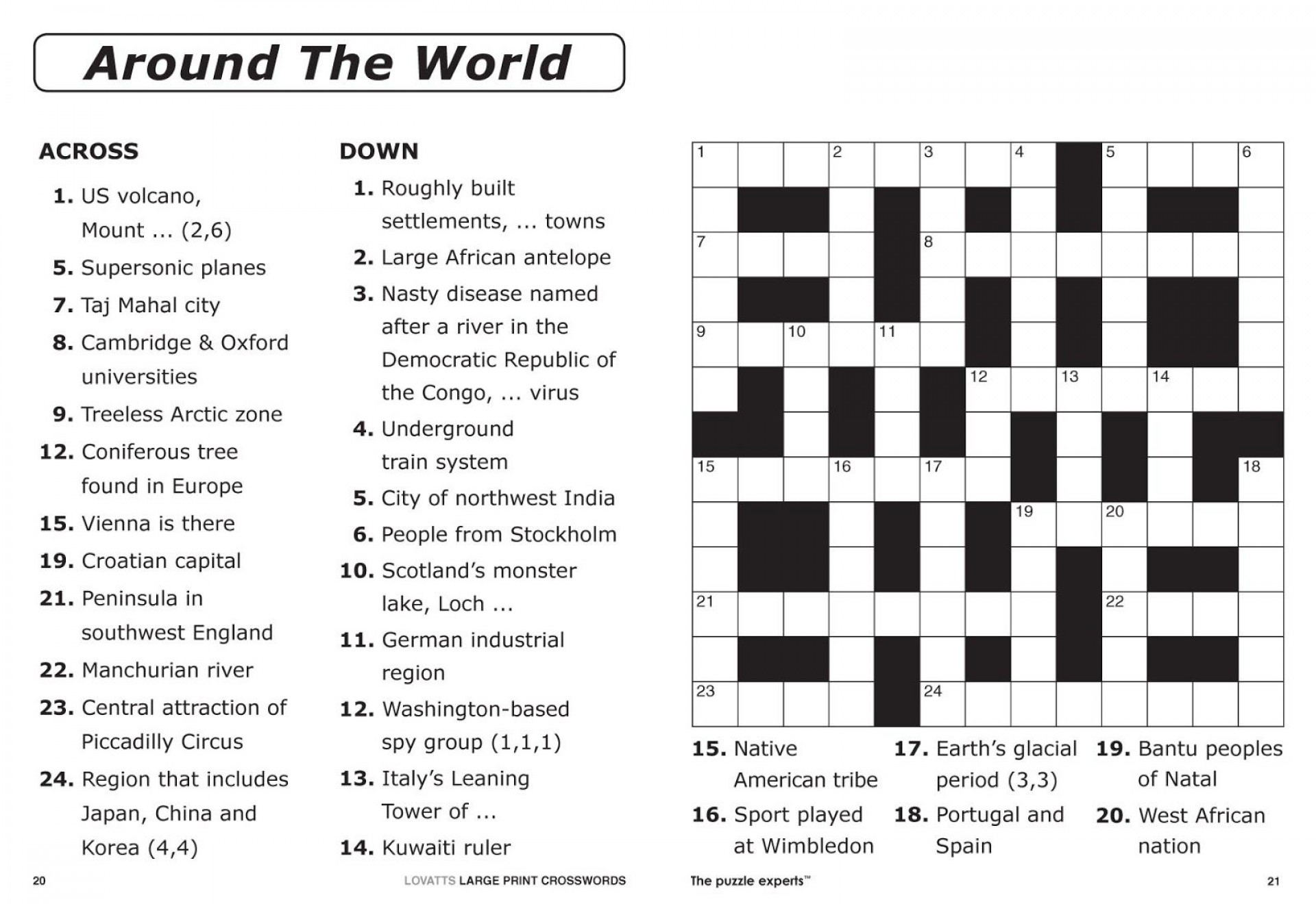 Crossword Puzzle Printable Large Print Crosswords ~ Themarketonholly - Printable Large Crossword