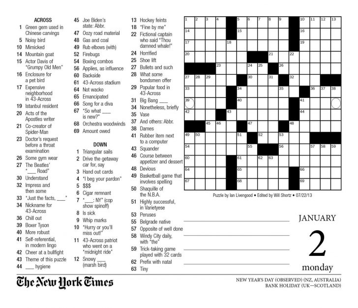 Free Printable Ny Times Crossword Puzzles
