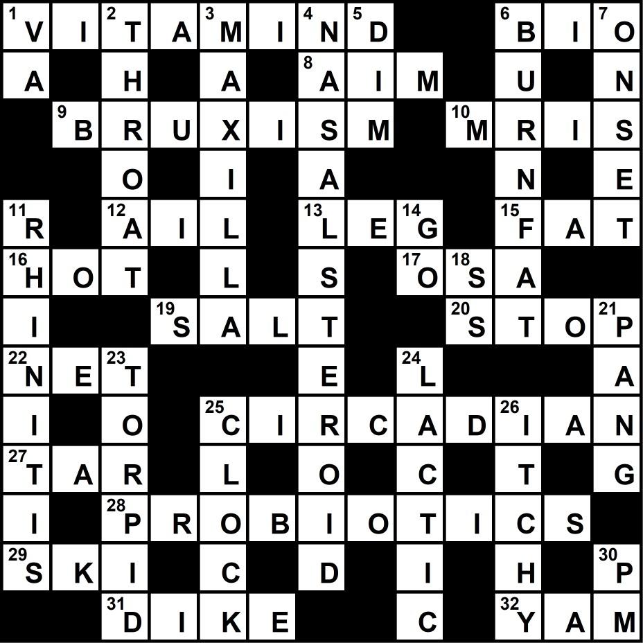 Crossword Puzzle: Sleep Medicine-Themed Clues (January 2018) - Sleep - Printable Crossword Puzzles January 2018