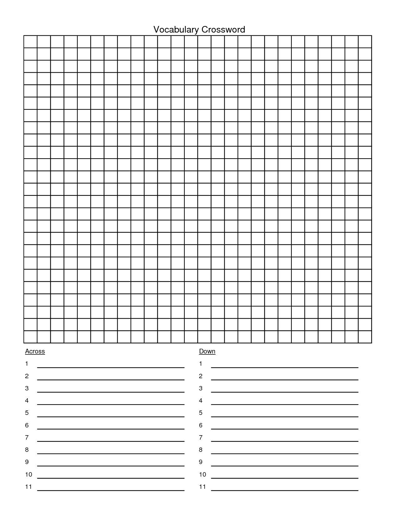 Crossword Puzzle Template - Yapis.sticken.co - Printable Crossword Template