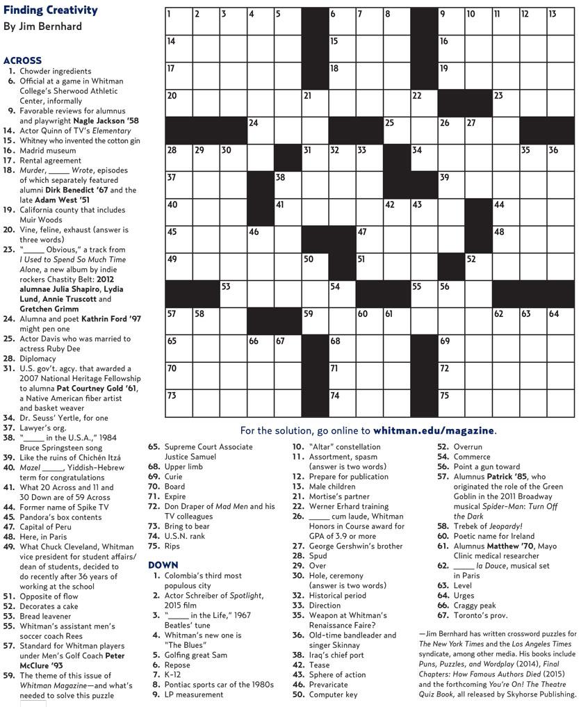 Crossword Puzzle | Whitman College - College Crossword Puzzle Printable