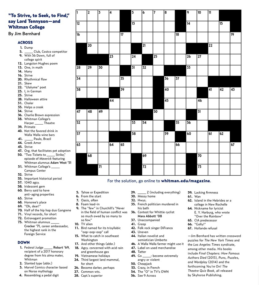Crossword Puzzle | Whitman College - College Crossword Puzzle Printable
