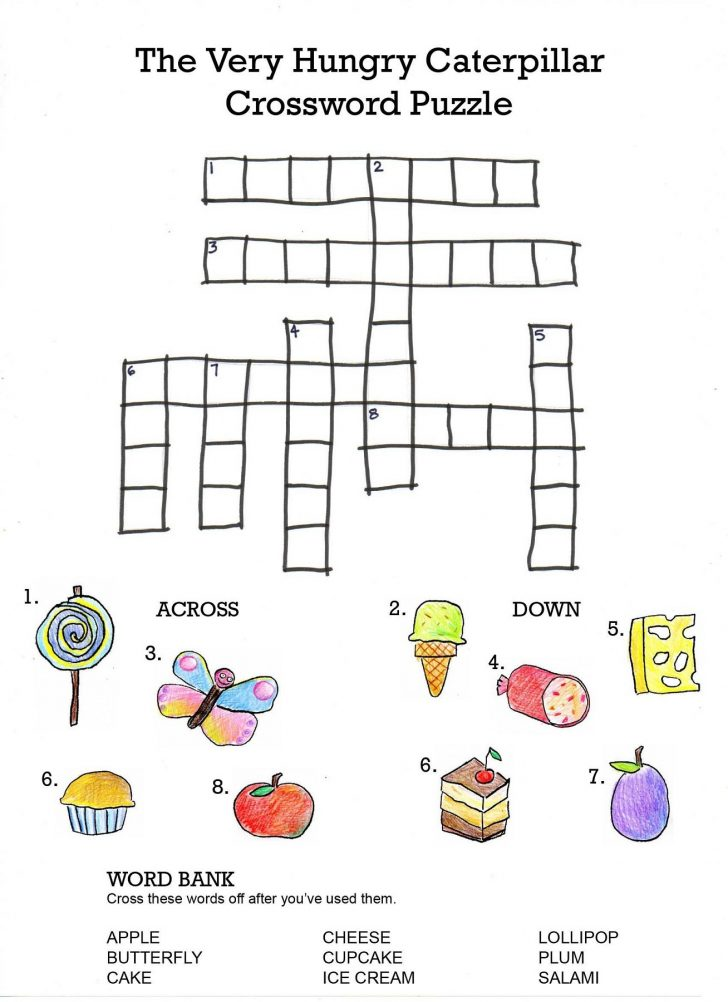 Printable Crossword Puzzles For 6 Year Olds