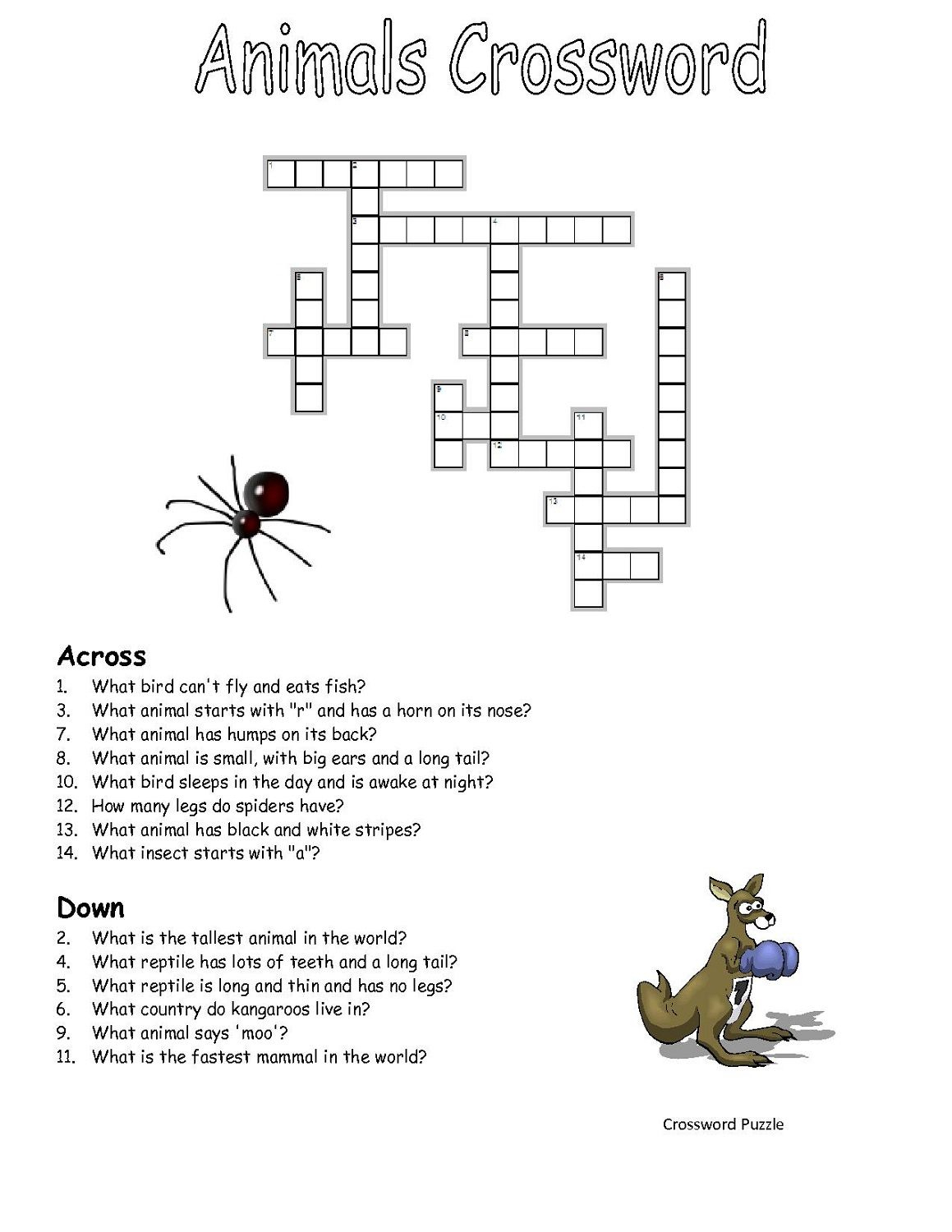 Crossword-Puzzles-Kids-Animal | Work It | Crossword, Puzzle - Printable Crossword Puzzles About Animals