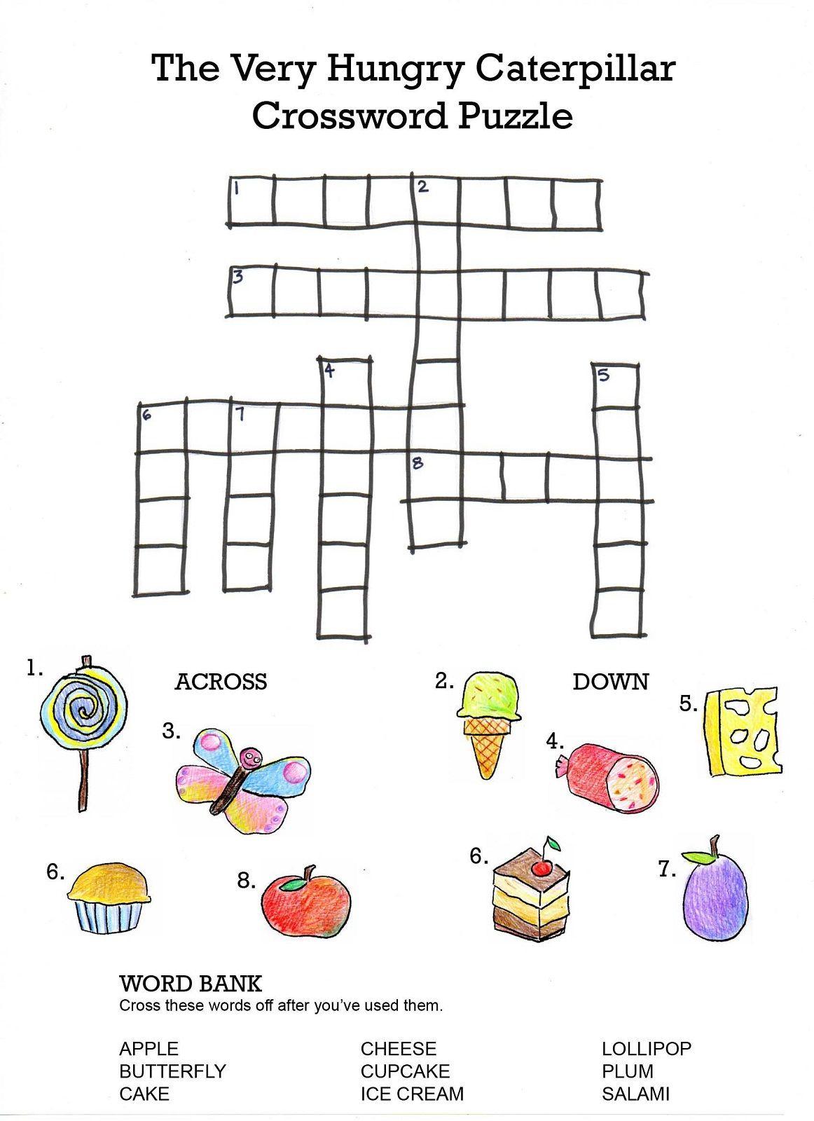 Crossword To Practice. Food | Storybook Activities | Hungry - Printable Crossword Puzzle For Kindergarten