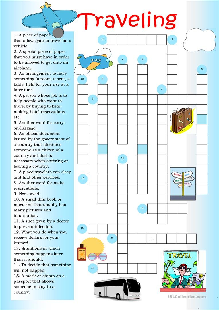 Crossword: Traveling Worksheet - Free Esl Printable Worksheets Made - Printable Intermediate Crossword Puzzles