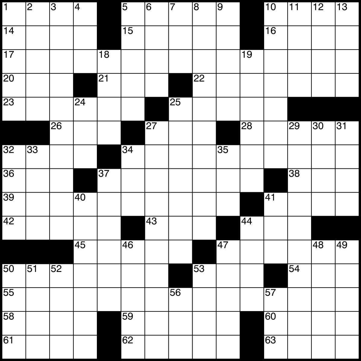 Crossword - Wikipedia - Printable Blank Crossword Grid