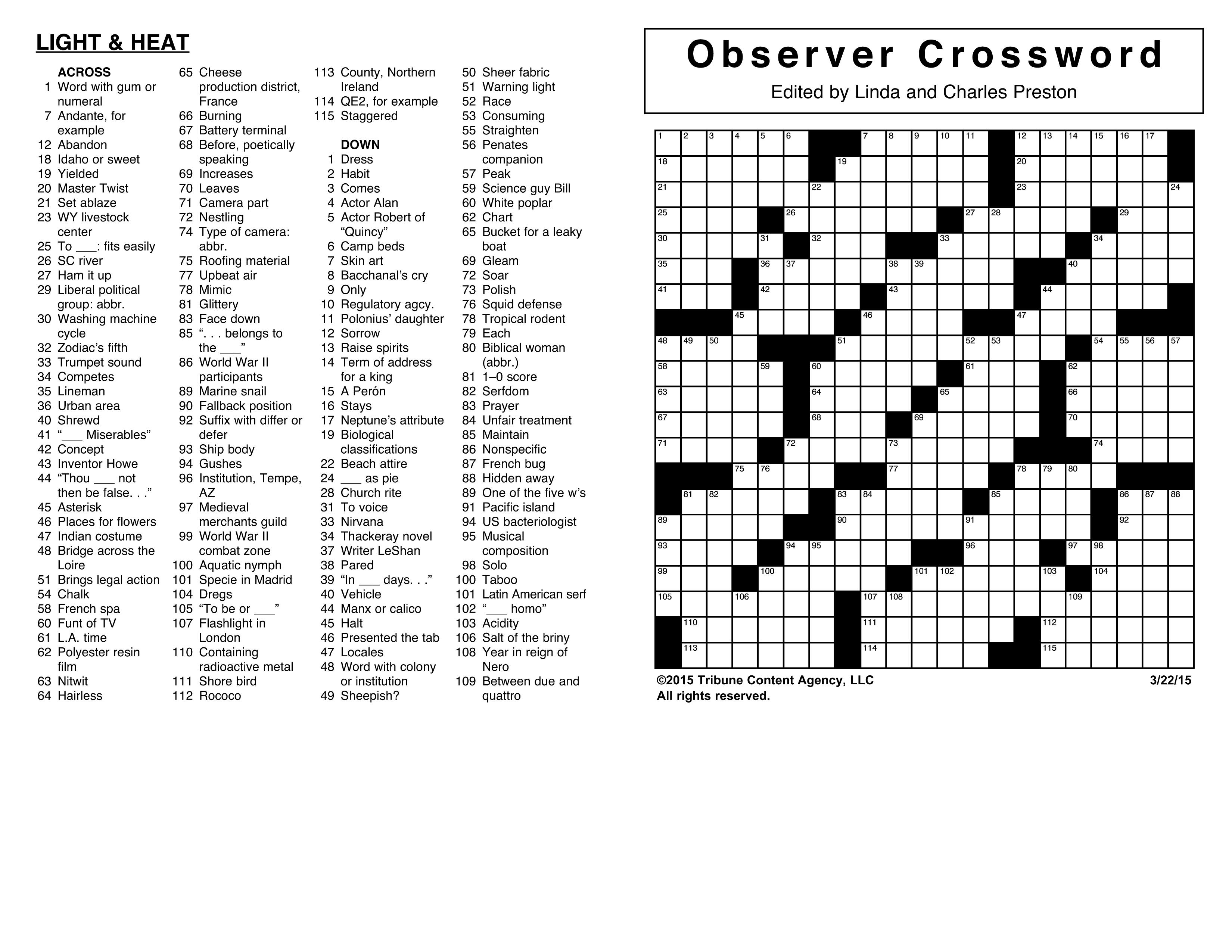 Crosswords Archives | Tribune Content Agency - Printable Crossword Puzzles July 2017