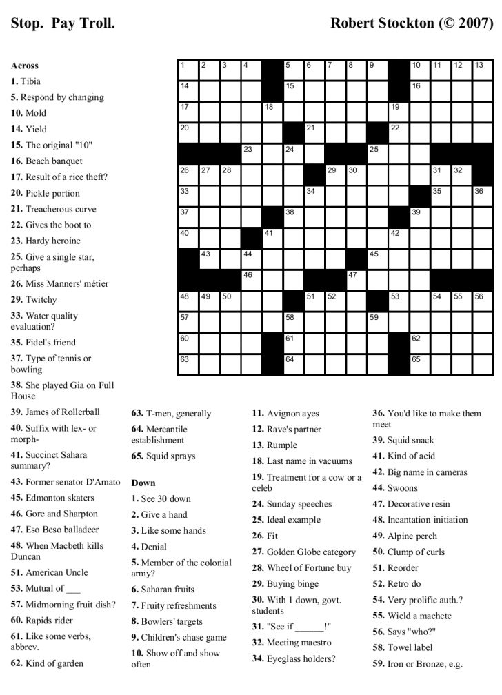 High School Crossword Puzzles Printable