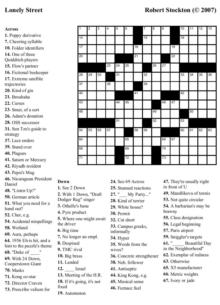 Printable Crossword Puzzle Difficult