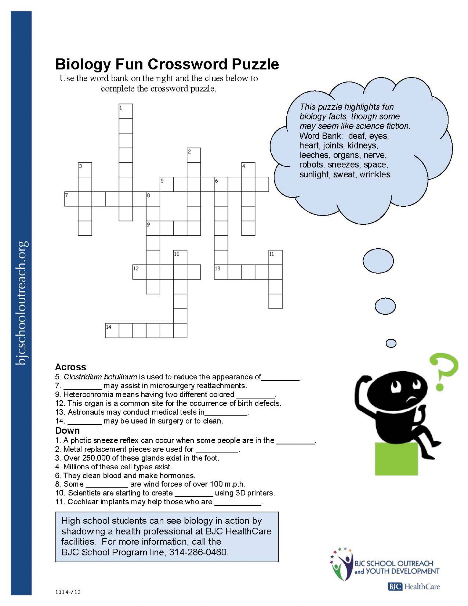 Crosswords Crossword Puzzle Worksheets For Middle School Biology Fun - Printable Crossword Puzzles With Word Bank