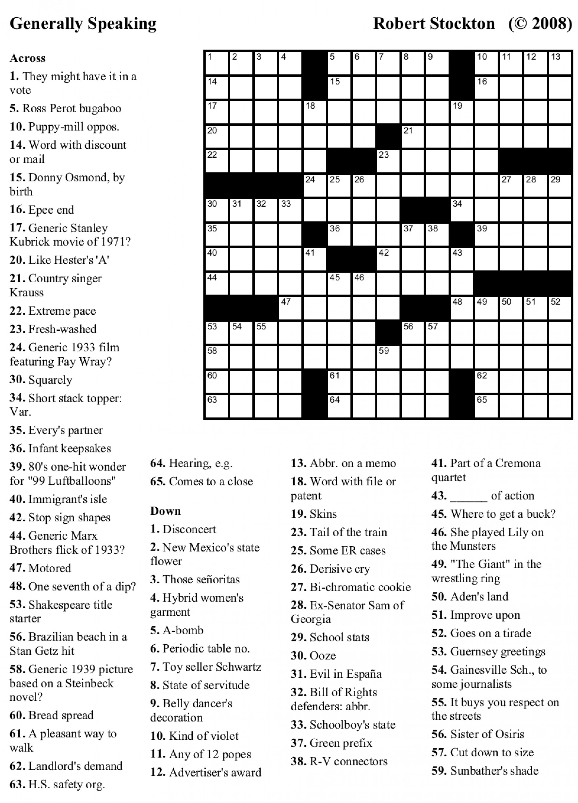 graphic relating to Usa Today Crossword Printable known as Printable United states Crossword Printable Crossword Puzzles
