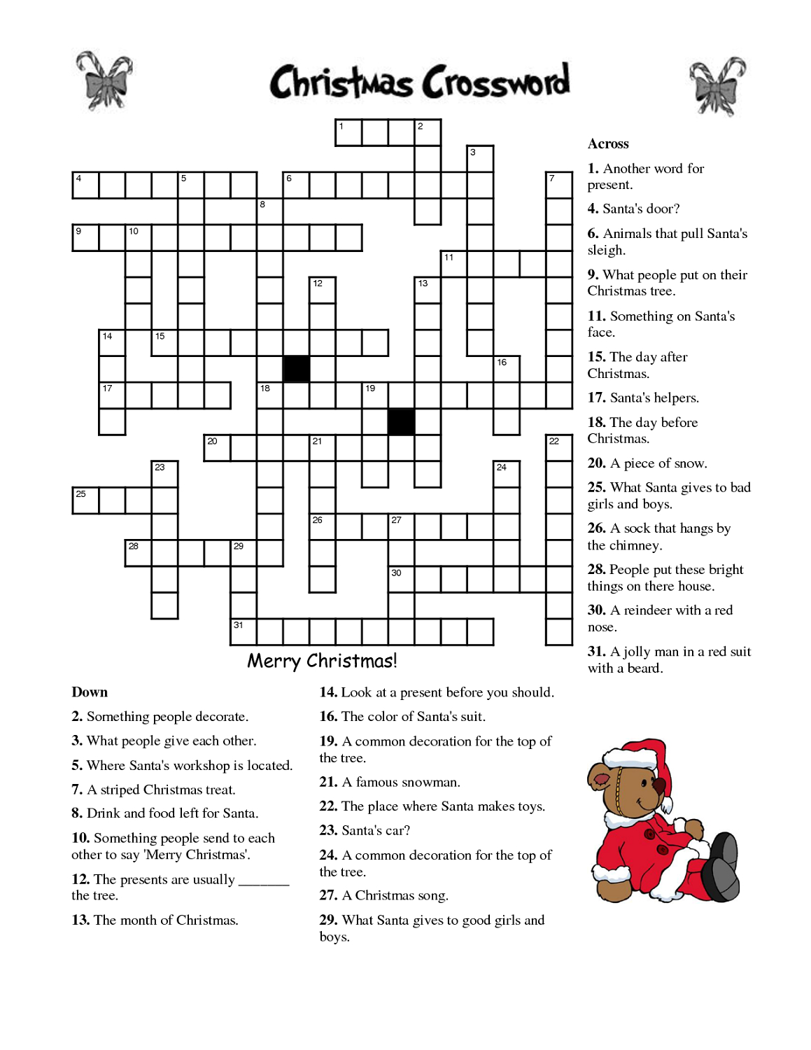 Crosswords For Kids Christmas | K5 Worksheets | Christmas Activity - Printable Crossword Puzzles 7 Year Old