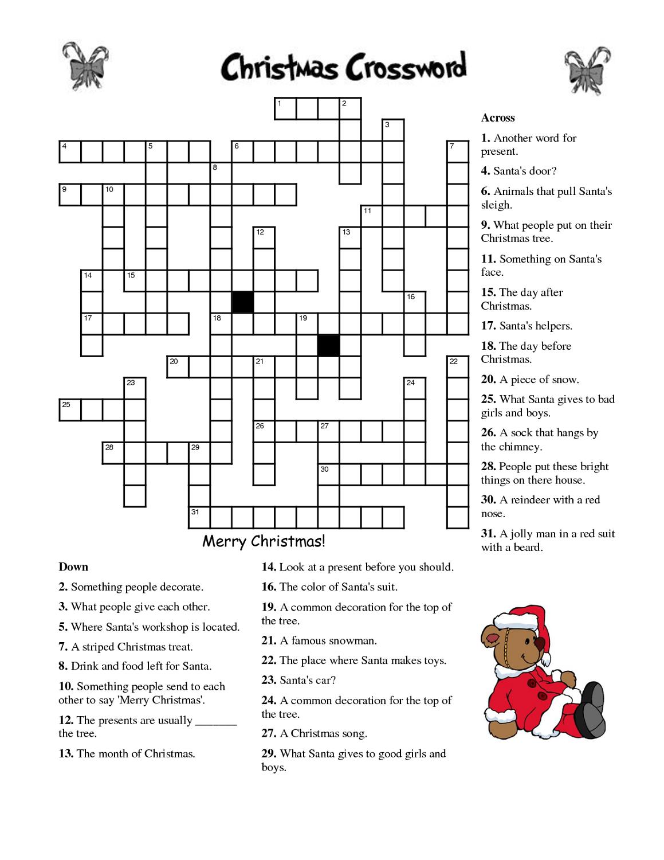 Crosswords For Kids Christmas | K5 Worksheets | Christmas Activity - Printable Holiday Crossword