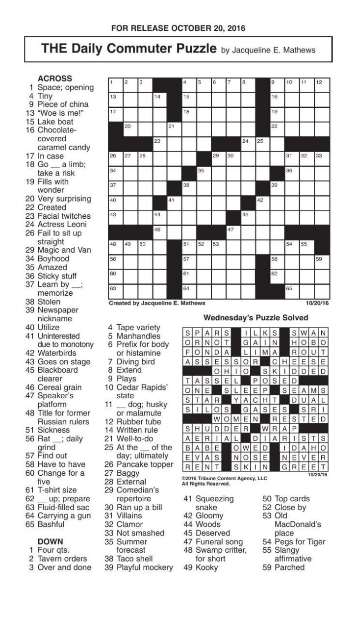 Printable Commuter Crossword Puzzle