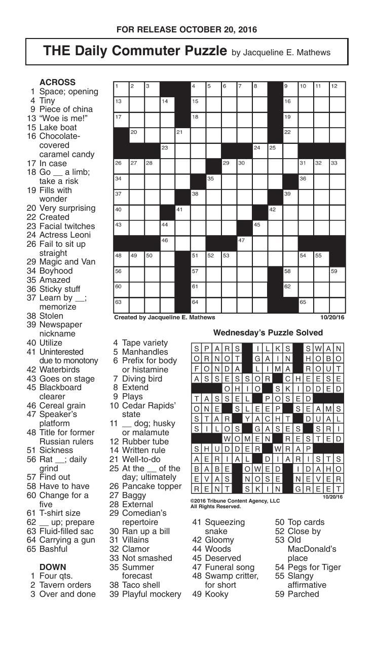 Crosswords, October 20, 2016 | Crosswords | Redandblack - Printable Commuter Crossword Puzzle