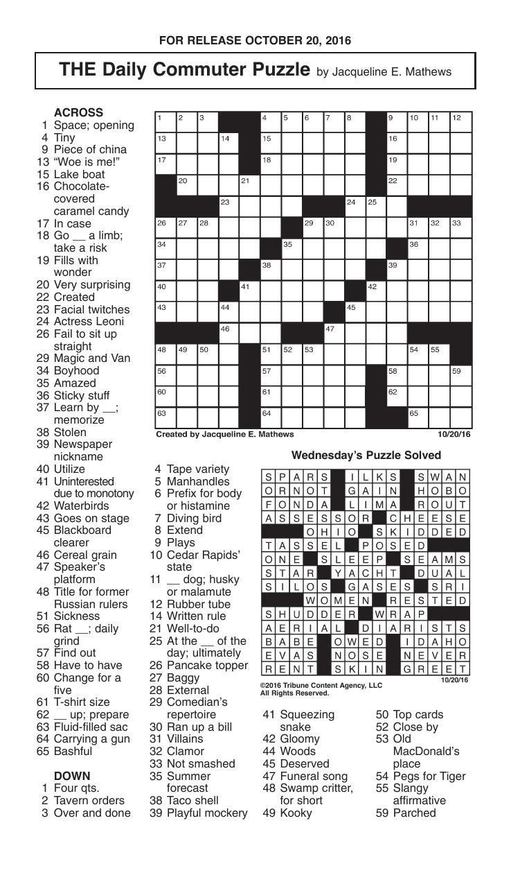 Crosswords, October 20, 2016 | Crosswords | Redandblack - Printable Commuter Crossword Puzzles