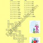 Crosswords: Opposite Adjectives And Verbs   Esl Worksheetphiliproth   Printable Opposite Crossword Puzzle
