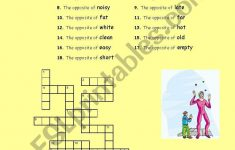 Crosswords: Opposite Adjectives And Verbs – Esl Worksheetphiliproth – Printable Opposite Crossword Puzzle