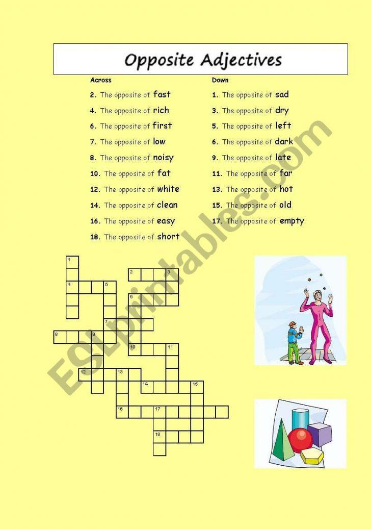 Printable Opposite Crossword Puzzle